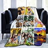 Custom Blanket Personalized Bed Throw Blanket with Photos Text,Custom Blankets with Photos Collage Customized Blankets for Family Birthday Wedding Gift