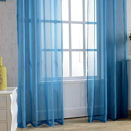 """KMSG Solid Pure White Sheer Voile Curtain Window Curtain Panel Valance (47"""" Standard Panel)"""