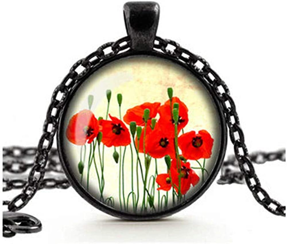 Dandelion Poppy Necklace, Red Poppies Pendant, Remembrance Necklace, Flower Jewelry, Glass Cameo Cabochon Jewellery, Tile Necklace, Red Flowers