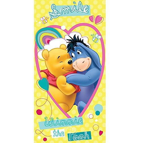 Jerry Fabrics Winnie-The-Pooh Charakter Kinder Schwimmen Strand und Badetücher, Baumwolle, Gelb, 140 x 70 x 0.5 cm