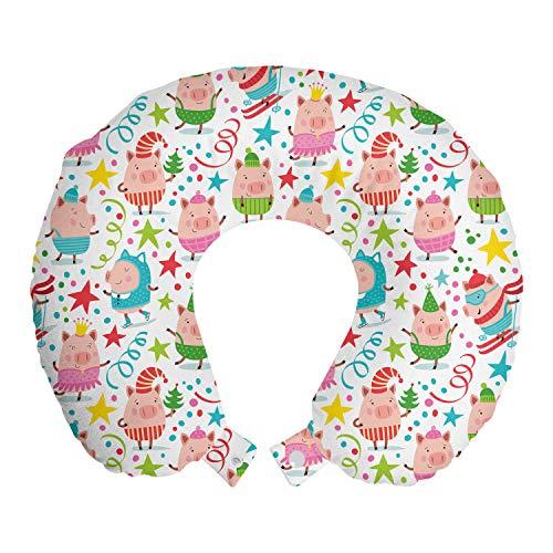 ABAKUHAUS Fiesta de cumpleaños Cojín de Viaje para Soporte de Cuello, Lechones Estrellas Puntos, Cómoda y Práctica Funda Removible Lavable, 30x30 cm, Multicolor