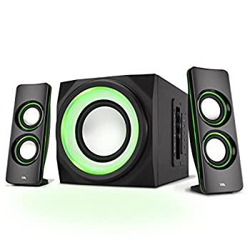 Cyber Acoustics Bluetooth Speakers with LED Lights – The Perfect Gaming Movie Party Multimedia 2.1 Subwoofer Speaker System  CA-SP34BT