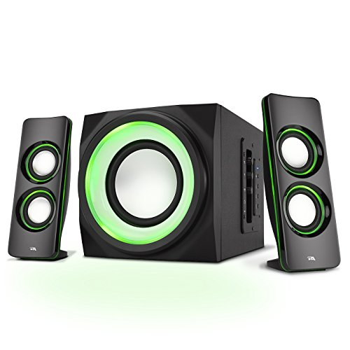 Cyber Acoustics 2.1 Bluetooth Party Speaker System with LED Lighting Effects, Black (CA-SP34BT)