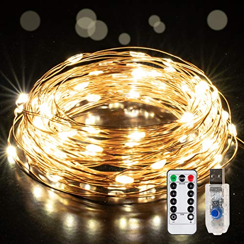 GIGALUMI 2 Pack 10M 100 LED Copper Wire String Lights, 8 Modes LED String Lights USB Powered with Remote Control, Waterproof Fairy String Lights for Indoor, Wedding, Party, Christmas Decoration