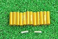 マイクロヒーロー  MicrOHERO 軽量 アルミ シフトアウターエンドキャップ 12個セット ゴールド ワイヤーエンドキャップ2個付