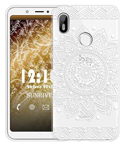 Sunrive Für BQ Aquaris C Hülle Silikon, Transparent Handyhülle Schutzhülle Etui Hülle für BQ Aquaris C(TPU Blume Weiße)+Gratis Universal Eingabestift