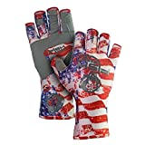 Fish Monkey UPF 50 Sun Protection Half Finger Guide Glove, Americana, XL