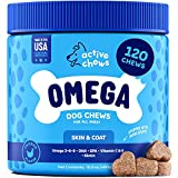Active Chews Omega 3 Fish Oil for Dogs   Dog Supplement with DHA & EPA Omega 3 6 9, Vitamin B & E and Biotin   120 Chews Promotes Dog Itch Relief, Joint Support and Heart & Brain Health