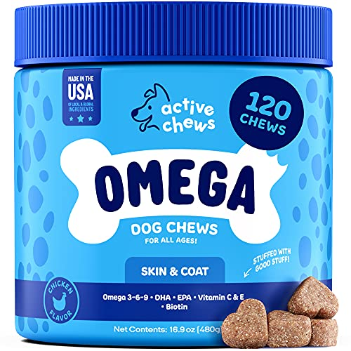Active Chews Omega 3 Fish Oil for Dogs | Dog Supplement with DHA & EPA Omega 3 6 9  Vitamin B & E and Biotin | 120 Chews Promotes Dog Itch Relief  Joint Support and Heart & Brain Health