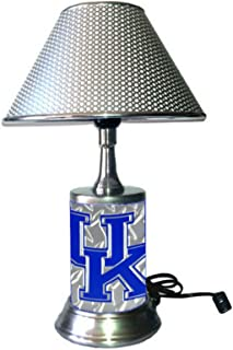 Table Lamp with metallic color shade, Kentucky Wildcats plate rolled in on the lamp base , base wrapped with diamond metal plate