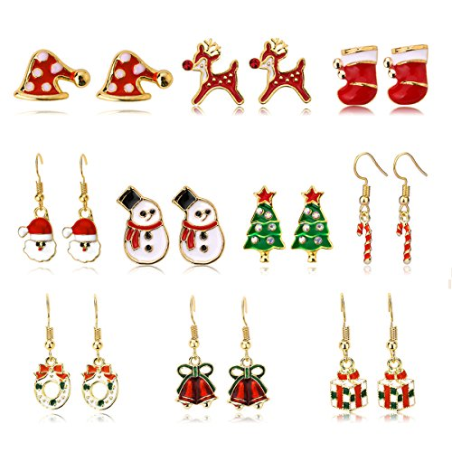Christmas Stud Earring Set - 10 Pairs Hypoallergenic Christmas Gifts Holiday Festive Jewelry for Women Teens Girls Cute Dangle Earrings