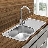 ECD Germany Fregadero de cocina 76 x 42,5 cm con juego de desagüe - lavabo a la izquierda con sifón - soporte a la derecha - acero inoxidable - pila lavadero platos manual empotrado con rebosadero