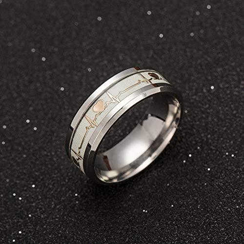 ERDING Unisex/Verlobungsring/Freundschaftsring/Luminous ECG Ring Edelstahl Ring Promise Heartbeat Ring Glowing Schmuck für Männer Frauen