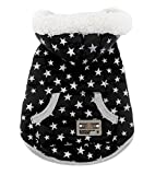 SMALLLEE_Lucky_Store Pet Clothes for Small Dog Cat Fleece Lined Winter Vest Coat Jacket Hooded Costume Clothing Black Stars L