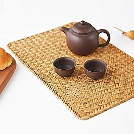 Lot de 4 Set de Table en Osier, 43 x 30 cm, Set de Table Rectangulaires en Rotin, Sets de Table en Jonc de Mer Naturel…