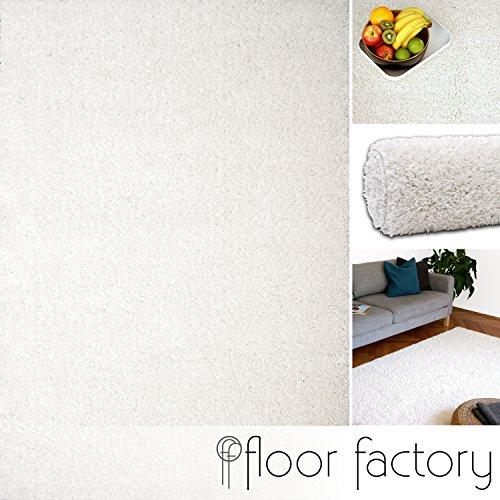 floor factory Hochflor Shaggy Teppich Colors weiß 80x150cm - pflegeleichter und günstiger Langflorteppich