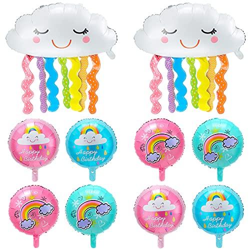 10 Stücke Regenbogen Wolke Folien Ballon Jumbo Regenbogen Wolke Quaste Mylar Luftballon Runde bunte Mylar Folie Luftballons für Baby Shower Hochzeit Geburtstag Theme Party Dekoration