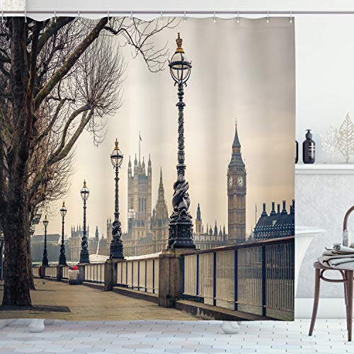 """Ambesonne London Shower Curtain, Big Ben and Houses of Parliament The Riverside with Retro Lanterns Picture, Cloth Fabric Bathroom Decor Set with Hooks, 70"""" Long, Ivory Grey"""