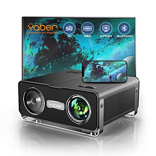 Beamer,YABER 8500 Lumen WiFi Bluetooth Beamer 1080P Full HD Beamer,mit 4Punkt Trapezkorrektur,4K 300\'\' Display Tragbarer Beamer LCD LED Video Heimkino Beamer für iOS/Android/Firestick Projektor