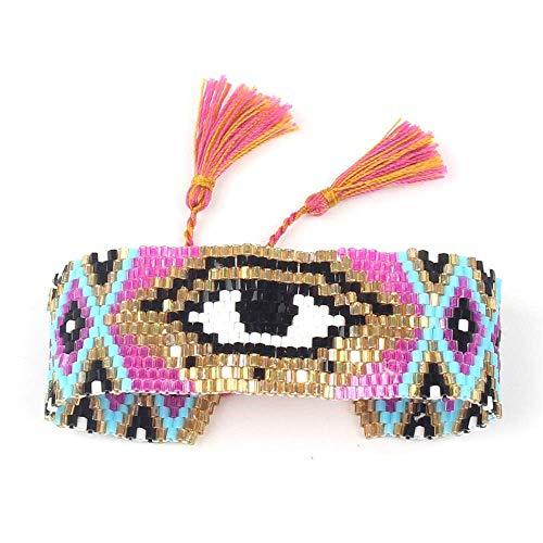 THj Bracelet Women Jewelry Turkish Evil Eye Bracelets Handmade Loom Summer Pink Glass Beads Gifts Adjustable