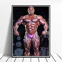 ジム装飾ボディービルチャンピオンポスターキャンバスプリントフィットネス壁装飾家筋肉トレーニングインスピレーションフィットネス写真壁アートパネル50x70cmフレームレス