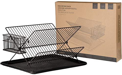 JOHSEATY Escurreplatos plegable, metal negro (36.5x30.5x22cm) con porta cubiertos y bandeja de plástico antigoteo. Rejilla retráctil para el fregadero, almacenamiento y estantería para platos
