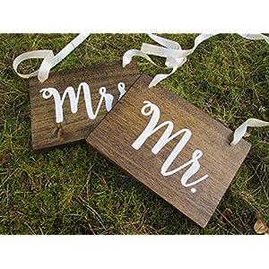 Novia y novio boda silla decoración cartel de madera, para ...