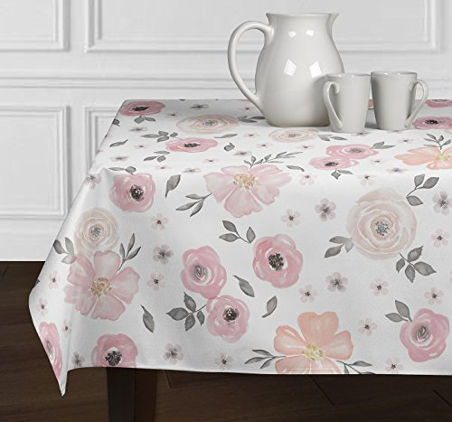 A LuxeHome Blush Pink Grey White Shabby Chic Watercolor Rose Flower Floral Overlay Decorative Cover Tabletop Tablecloth Dining Room Kitchen Rectangle Oblong 60' x 102'