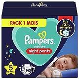 Pampers - Baby Dry Night Nappy Pants Talla 5, 140 pañales, 12 kg-17 kg, Pantalones De Noche Pampers Ofrecen Protección Adicional Durante Toda La Noche
