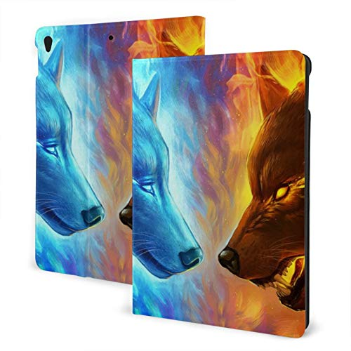 Ipad Pro 10.5 Case 2017/10.5 Inch Ipad Air Case 3rd Gen 2019 Ice Vs Fire Wolf Wolves Blue Burning Pu Leather Smart Cover TPU Protective Shell Cover Auto Sleep/Wake Protector