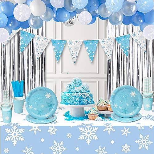 Gefrorene Partyzubehör, Winter Wonderland Theme Geburtstag Dekoration Hintergrund mit Silber Fransen Vorhang, Schneeflocke Wimpel Flaggen & Schneeflocke Tischdecke für Boy Girl Geburtstag Baby Shower