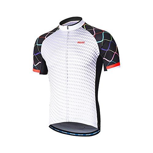 ARSUXEO Men's Cycling Jersey Short Sleeves Mountain Bike Shirt MTB Top Zipper Pockets Reflective ZY846 M