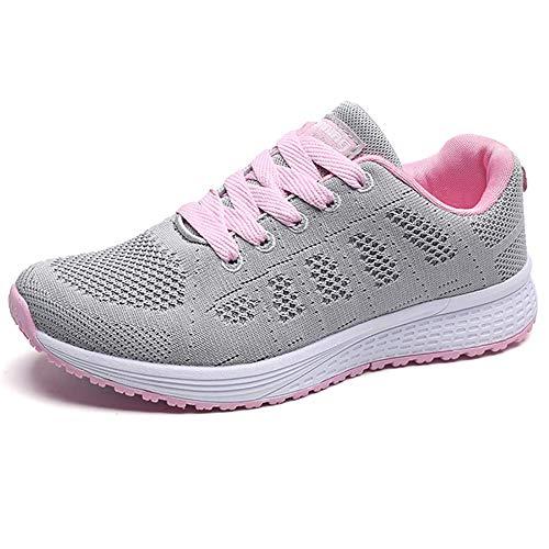 Zapatillas Deportivas Mujer Sneakers Zapatos para Correr para Niña Mujeres Running Zapatos Casuales de Mujer Ligero Respirable Atarse Rosa Gris Talla 44