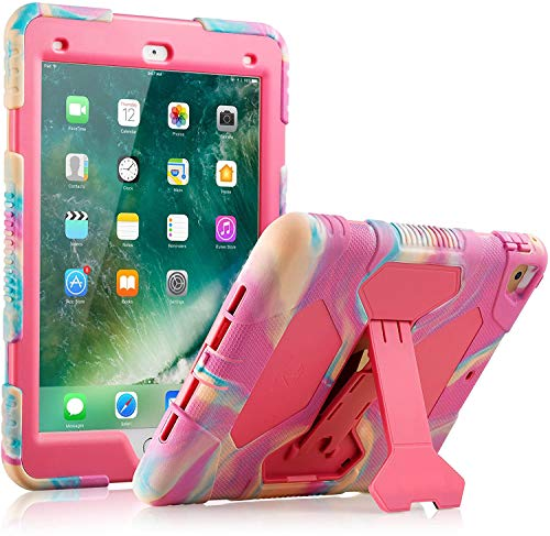 ACEGUARDER Kids Case for iPad 9.7 2018/2017 Case Full Body Protective Silicone Cover Adjustable Kickstand for iPad 9.7 5th / 6th Generation, iPad Air 2, iPad Pro 9.7(Pink Camo)