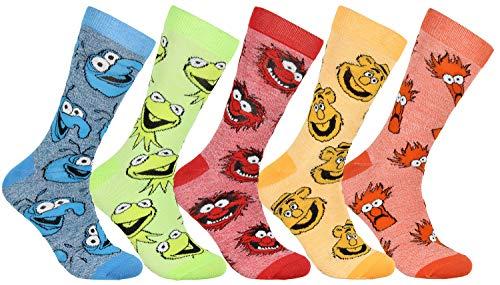 The Muppets Kermit Animal Gonzo Beaker Fozzie 5 Pack Crew Socks