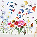 65 Pieces Chrysanthemums Flowers Butterflies Dragonflies Wall Decal Flowers Vines Garden Vinyl Wall Decals Stickers Removable Peel and Stick for Kids Room Nursery Classroom Bedroom Decor (Colorful)
