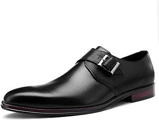 Chaussures Monk hommes,Robe en cuir de vache Boucle Chaussures Chaussures en cuir d'affaires Marche urbaine Travail Banque...