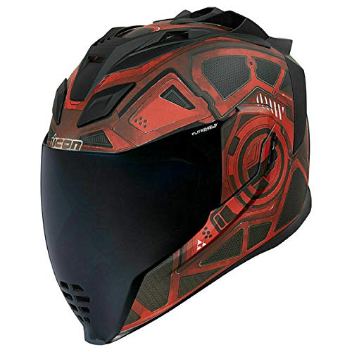 Icon Airflite Motorradhelm mit dunklem Visier, Rot L rot
