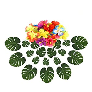 Numblartd 60 Pcs Artificial Tropical Plant Palm Monstera Leaves and Hibiscus Flowers – Hawaiian Luau Beach Theme Prom Barbecue Birthday Party Supplies Decoration Leaf Table Decor Accessories