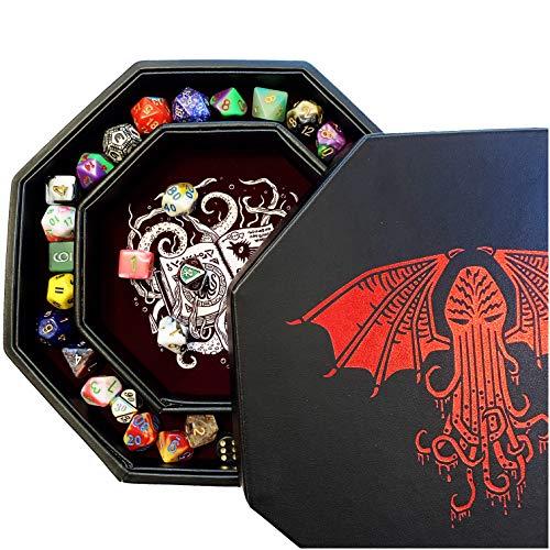 Fantasydice -Cthulhu Tome-RED- Bandeja de almacenamiento y Rolling Tray - Octagon de 20 cm con tapa y dice Staging Area Staging Staging Area Holds 5 Sets(7 Dice Set/estándar) para All Tabletop RPGs