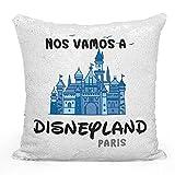 AR Regalos Cojín de Lentejuelas Nos Vamos a Disneyland Paris - Azul