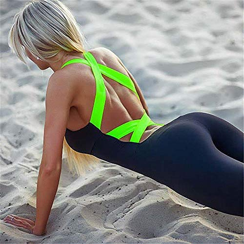 Zzyx Del Backless Verband-Yoga-Overall Fitness Sport Kleidung for Frauen Bodysuit Sport Gym Kleidung Yoga Rennen Sport Anzug Set Komfortable (Color : Light Green, Size : S)
