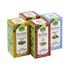 PROTEIN TOPPERS - 4 boxes, each with 3 single-serve packets of toasted bean blend (total of 12 servings). 2 boxes of Tri-Soy Medley, 1 box of Pepitas & Soy-Pea Medley and 1 box Garbanzo & Soy Medley VEGAN FOOD TOPPING – Certified Vegan by Vegan Actio...
