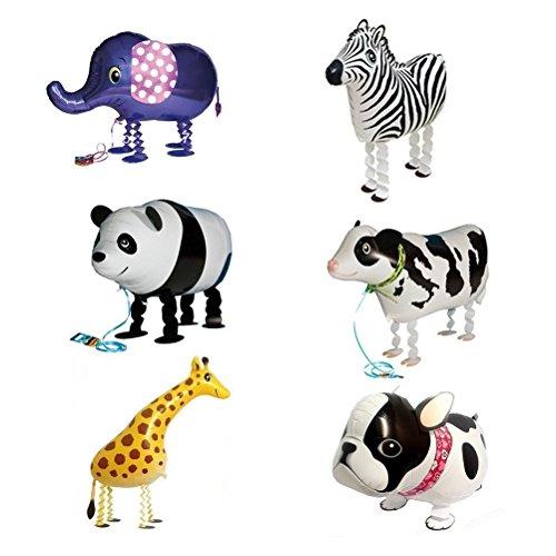 NUOLUX Tier Ballons Folieballons gehende Ballons für Geburtstag Party Deko oder Kinder Spielzeug Geschenk 6pcs