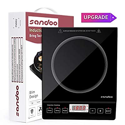 Sandoo Induction Cooktop, 1800W Portable Electric Burner Stove, Safety Single Burner Countertop, Timer and 15 Temperature & Power Setting, Suitable for Cast Iron, Stainless Steel Cookware HA1897