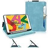 iPad 10.2 ケース iPad 10.2 2019 ケース Skycase 型押し PUレザー 耐久性 耐衝撃 スタンド機能 オートスリープ機能 カードポケット付き ペンホルダー付き 2019年秋発売の新型 iPad 10.2インチ用 ミント