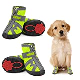 Dog Shoes for Hot Pavement Hardwood Floors, Breathable Dog Boots with Anti-Slip Rugged Sole, Summer Dog Booties Dog Hiking Boots with Reflective & Adjustable Strap Zipper Closure for Small Medium Dogs