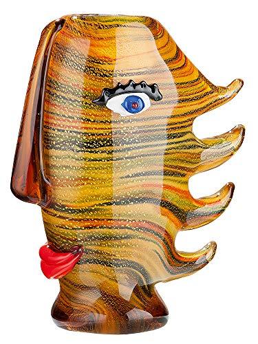 GILDE Glass Art 39468 - Vaso di design Capelli, in vetro soffiato a bocca, multicolore, 28 x 24 x 11 cm