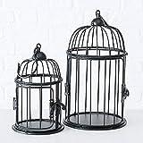 CasaJame Casa Arredamento Decorazione Accessori Design Set di 2 Gabbie per Uccelli Decorative Stile Shabby Chic Vintage Ferro Marrone Scuro Altezza 18/24 cm Ø 10/13 cm
