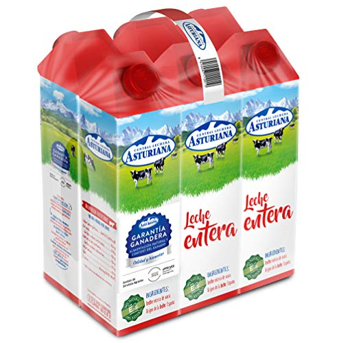 Central Lechera Asturiana - Leche Entera Brik 6L (Pack 6 x 1L)